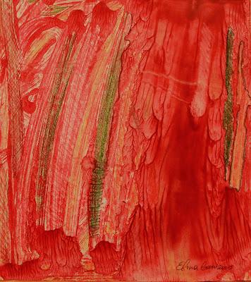 Monotipia em vermelho de Elma Carneiro  em óleo s/papel canson