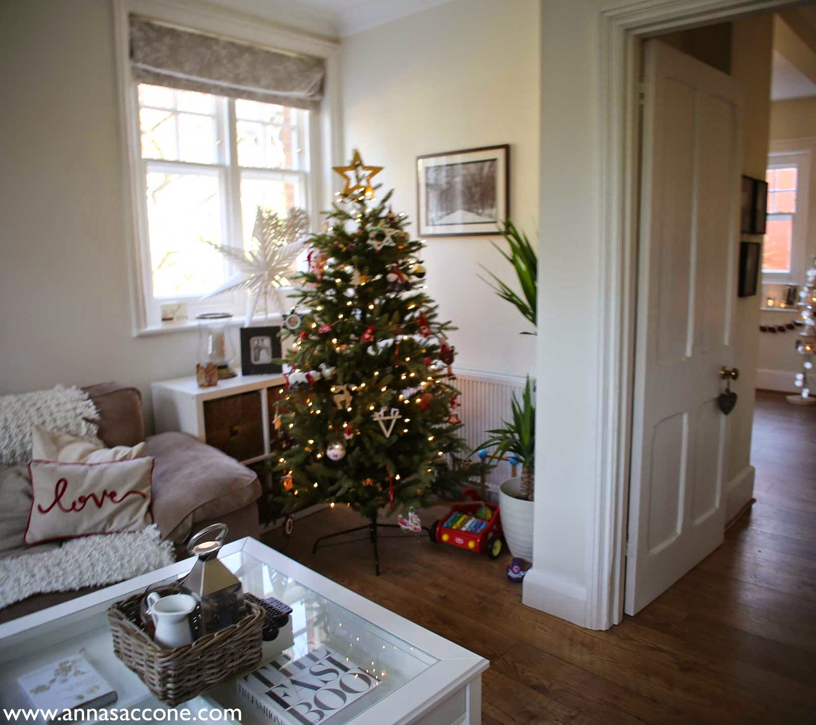 How to decorate my living room for christmas - My Little Tree Lantern Which I Love So Much I Decorated It With Pearl Battery Operated Lights From B Q Our Living Room