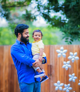 Jr Ntr with son Abhay Ram photos