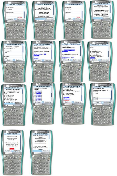 Desain Tampilan menu transaksi member dalam aplikasi pemesanan tiket pesawat berbasis wap