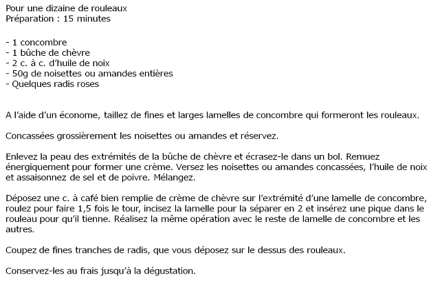 image recette Rouleaux de concombre au chèvre, noisettes et radis