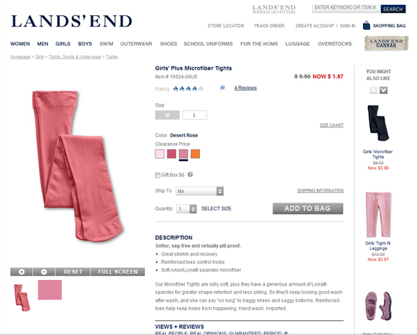 Girls' Land's End Tights On Sale!
