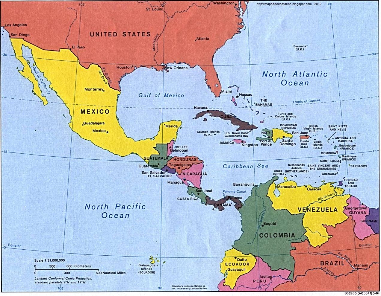 MAPAS DE: CENTROAMERICA