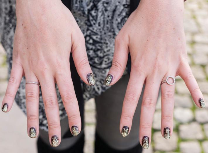 Diamanti Per Tutti rings, glitter ombre nails
