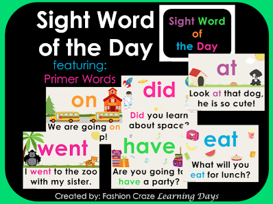 Primer Sight Word of the Day Set