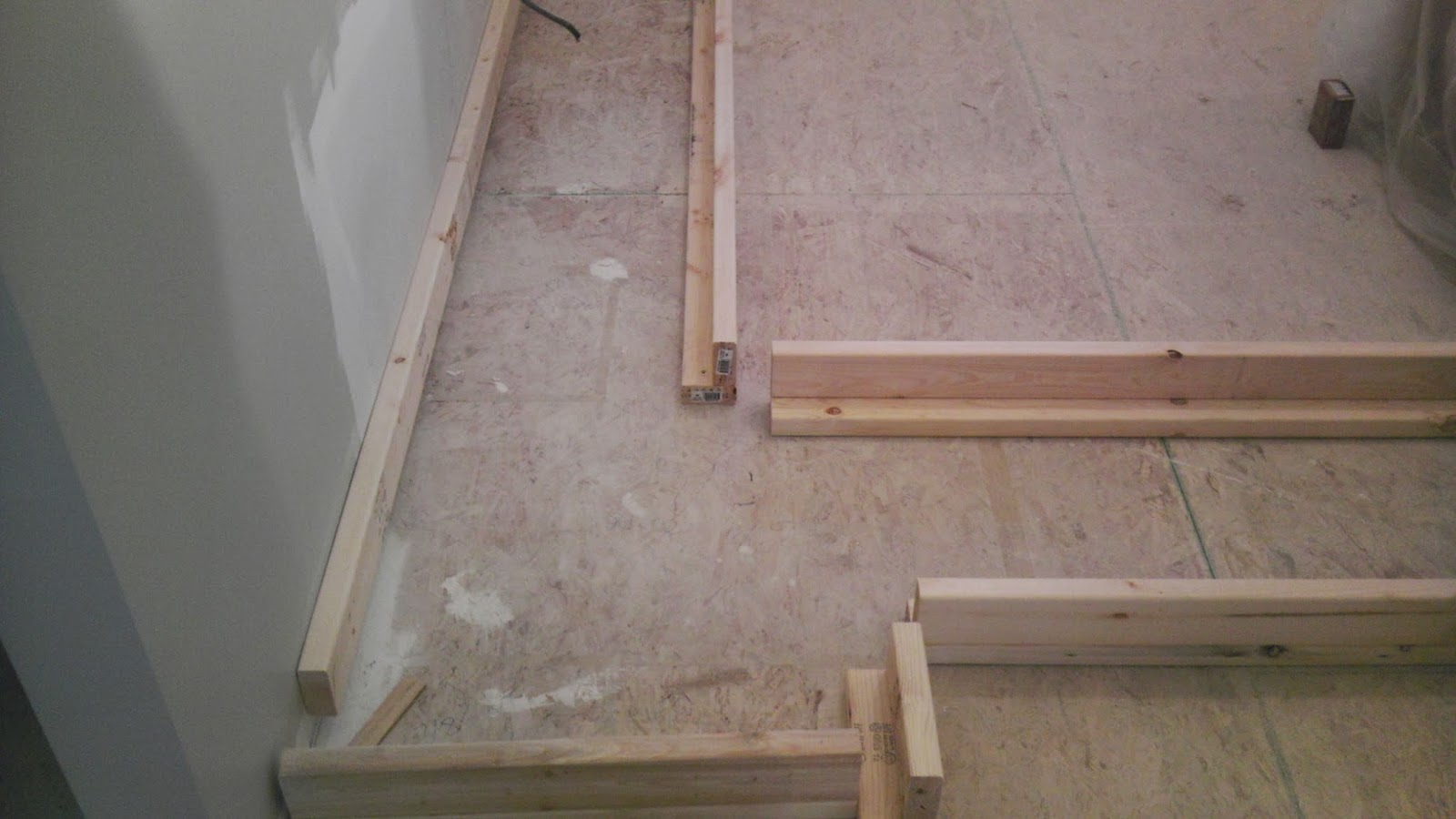 Once Upon an Acre: Building a base frame for Ikea cabinets.