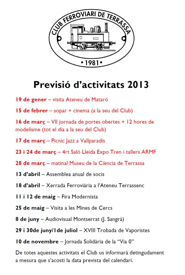 Previsi d&#39;activitats pel 2013