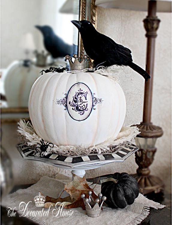 The Decorated House :: Halloween Decorating : Monogram White Pumpkin