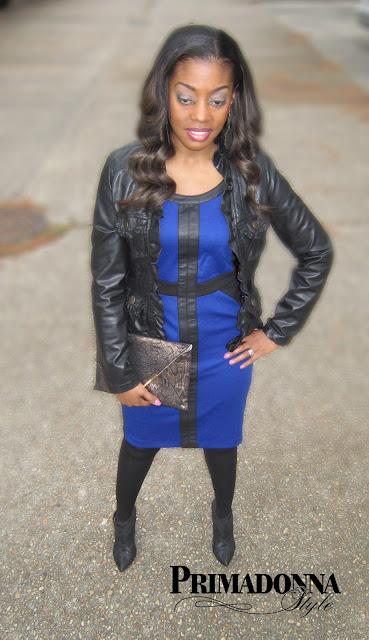 Blue & Black Dress, faux leather jacket, ruffle jacket, dollhouse jacket, steve madden clutch