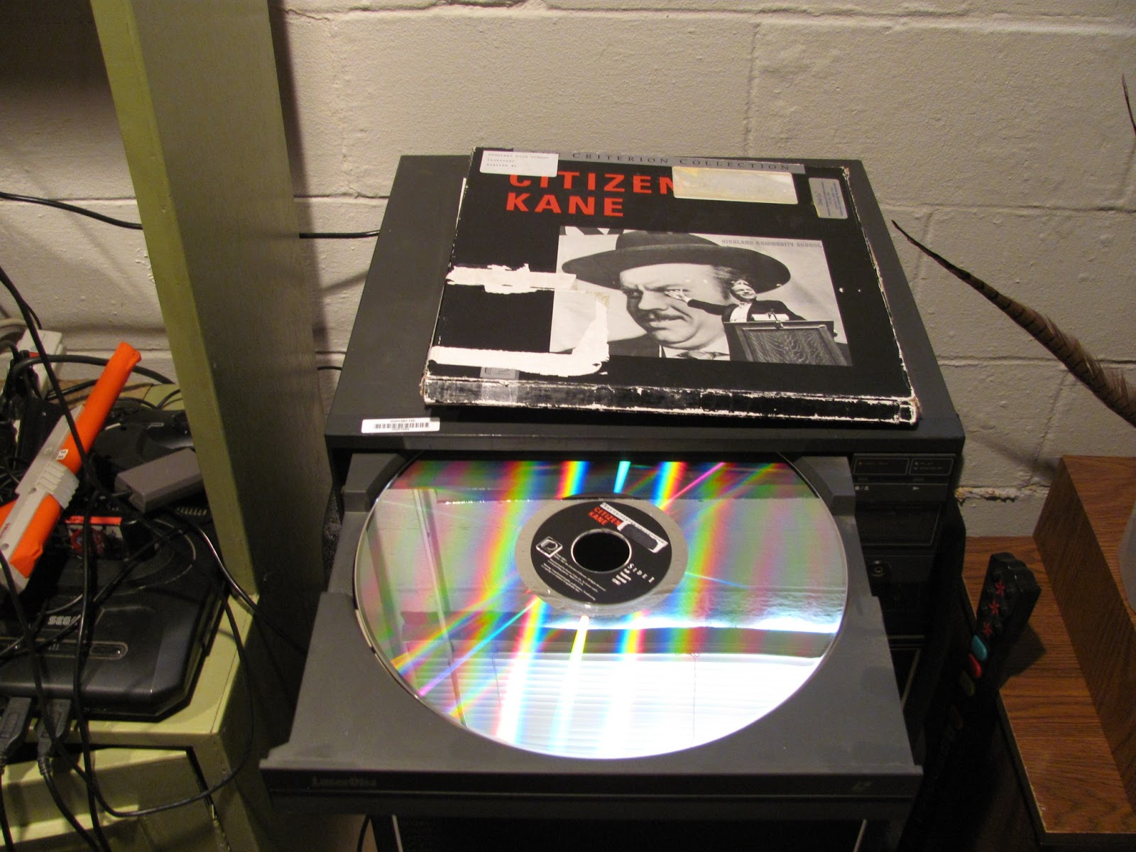 Laserdisc player on display with Citizen Kane before being sold on Craigslist