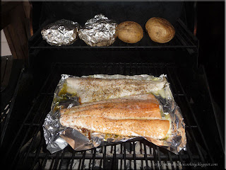 salmon and pickerel on the grill