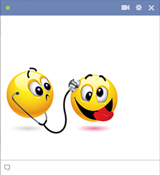 Silly emoticon visiting doctor