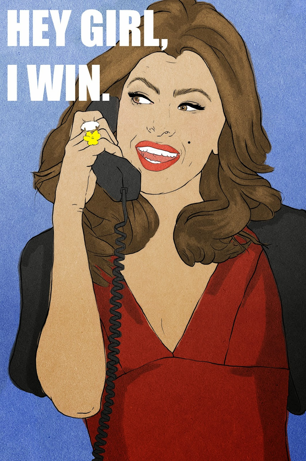 eva-mendes-on-the-phone, eva-mendes-illustration
