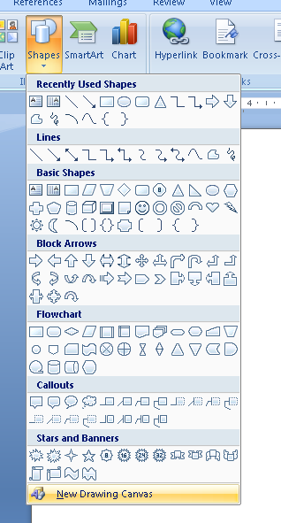how to add shape in word
