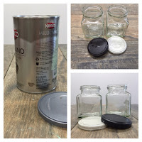 Use used jars and canisters, Folk It and DecoArt's Paint adhesion medium to epicycle them.