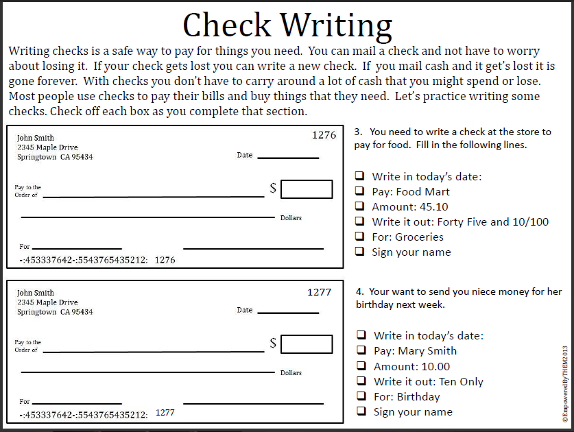 Printables Writing Checks Worksheets empowered by them writing checks one more day of school well until monday when we start summer httpwww teacherspayteachers comproductlife skills 711980