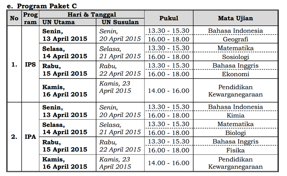Jadwal UN Program Paket C 2015