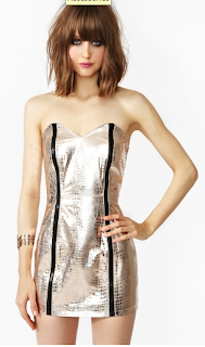 Prism Leather Dress Snake Metallic