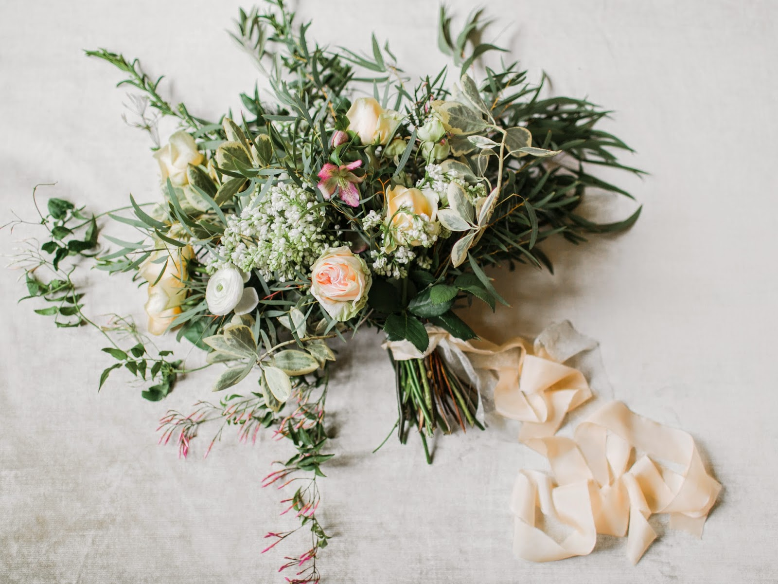 Jasmine Garden Roses Hyacinth Lilac Hellebores And Willow Eucalyptus Lets Just Say This Bouquet Smelled Heavenly