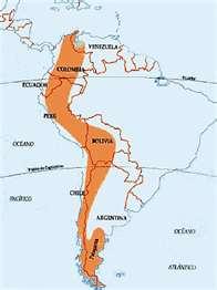 Mapa de la ubicación de la Cordillera de los Andes