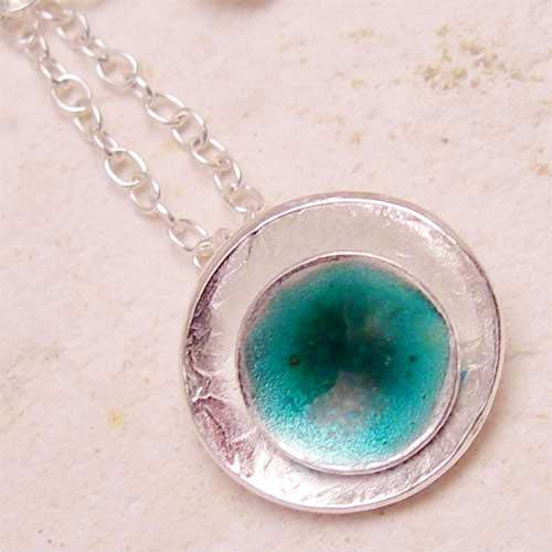 Silver & Sea Green Enamel Seed Pod Pendant Necklace