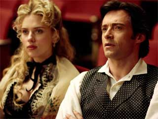 Scarlet Johansson as Olivia, hugg jackman as robert angier, the prestige