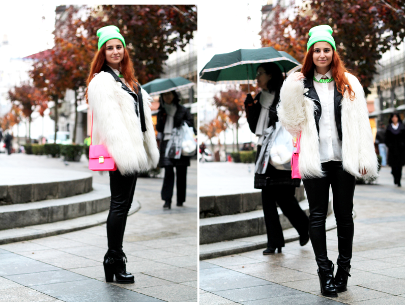 street style black and white with neon beanie and bag