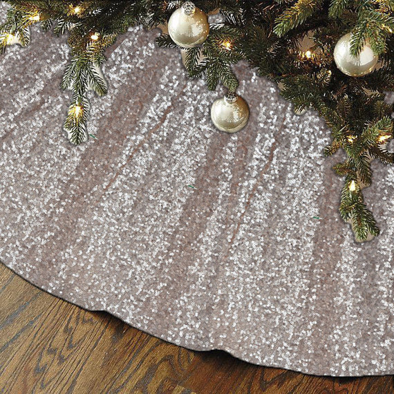 Christmas Tree Skirt Unique Sparkly Glittery Holiday Embroidery  - Blue Christmas Tree Skirt