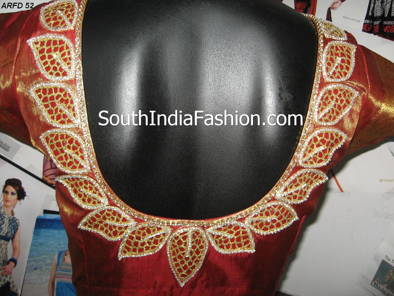 Designer Cut Work Saree Blouses – South India Fashion