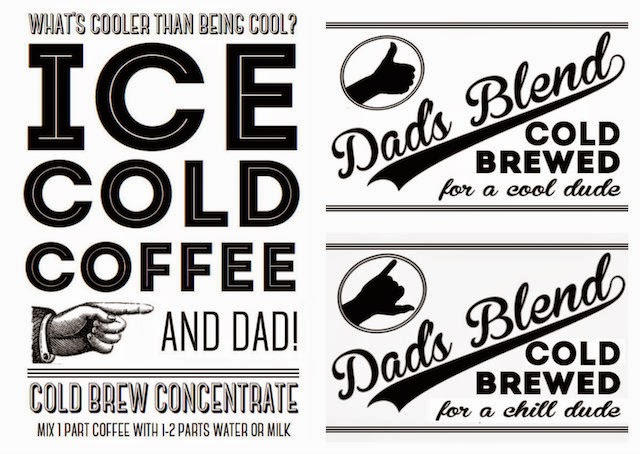 Free printables for cold brew coffee, perfect for Father's Day or Dad's birthday!