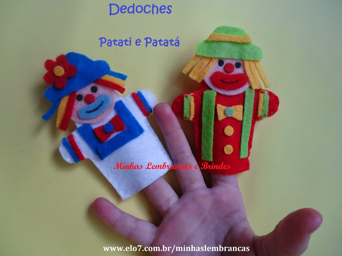palhaços-patati patatá-feltro-lembrancinhas-feltro-brindes-dedoches