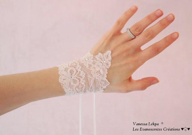 bijoux et accessoire de mariée par Vanessa Lekpa, paire de manchettes en dentelle de Calais ancienne pour mariagé