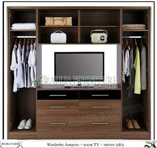 Lemari pakaian minimalis dan tv Amazon