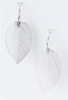 silver leaf earrings, fashion blog