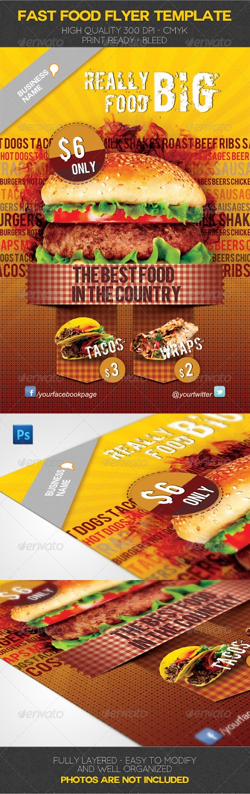 Get Honey Free Templates 4 U Graphicriver Fast Food Flyer Template
