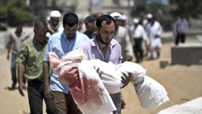 Un padre palestino carga el cuerpo de su niño de cinco años.