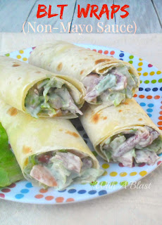 BLT Wraps {Non-Mayo Sauce} ~ Healthy, low fat BLT wraps with a Non-Mayo Sauce #BLT #Wraps #Healthy #LowFat
