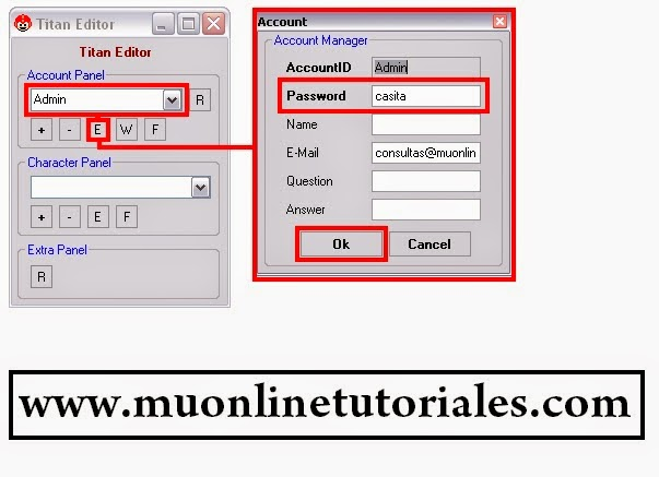 Modificando password de una cuenta