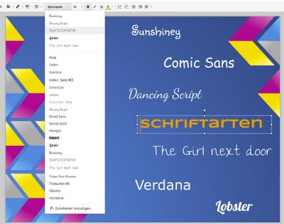 Screenshot einer Übersicht aller verfügbaren Schriftarten innerhalb von Google Präsentationen