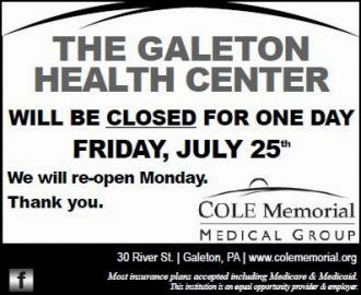 7-25 Galeton Health Center Closed