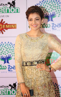 Actress Kajal Aggarwal Pictures in Designer Evening Dress at Memu Saitam Dinner with Stars Red Carpet  42)