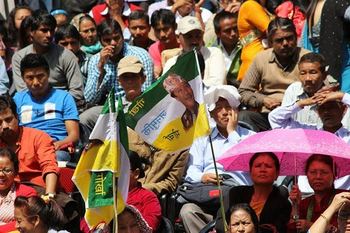 Gorkha Janmukti Morcha (GJM) supporter at 8th foundation day at Open Air Theatre Darjeeling Chowrasta
