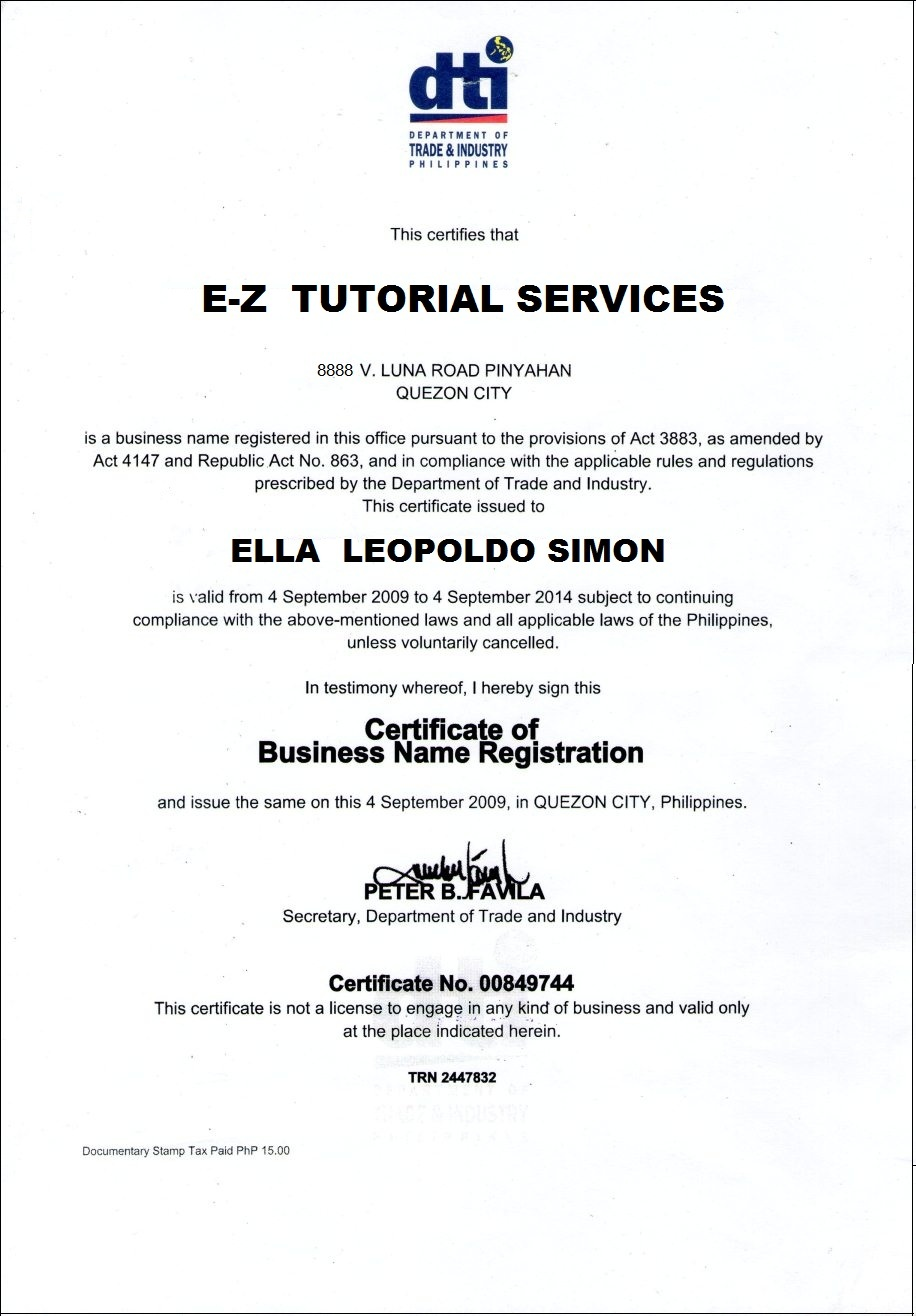 Wbbbb accounting management services dti business name dti business name certification sample yelopaper Image collections