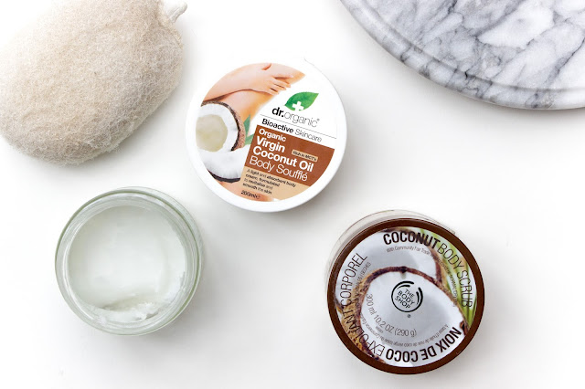 Coconut Skincare - Body Shop Coconut Body Scrub, Dr Organic Coconut Oil Body Souffle and Lucy Bee Coconut Oil