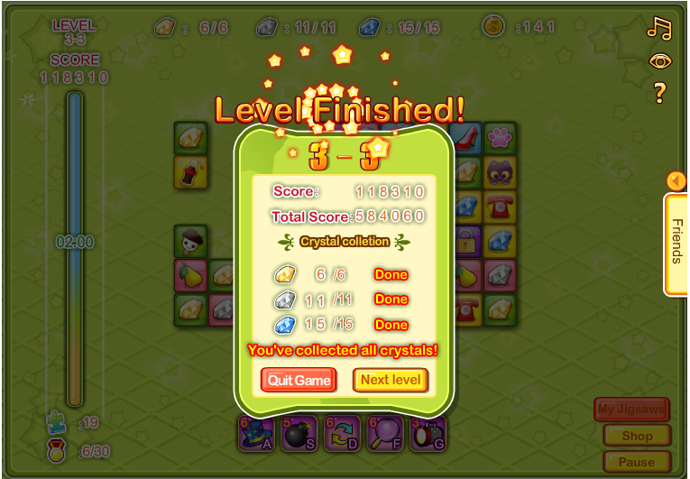 Level Finished 3-3