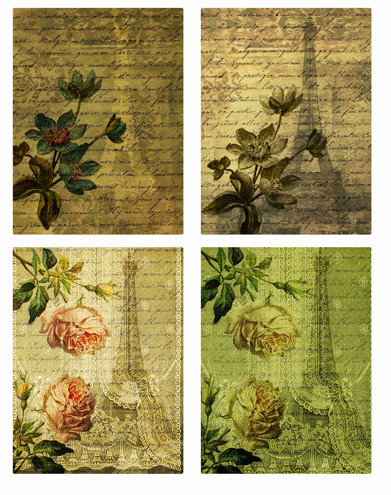 vintage Paris graphics sheet
