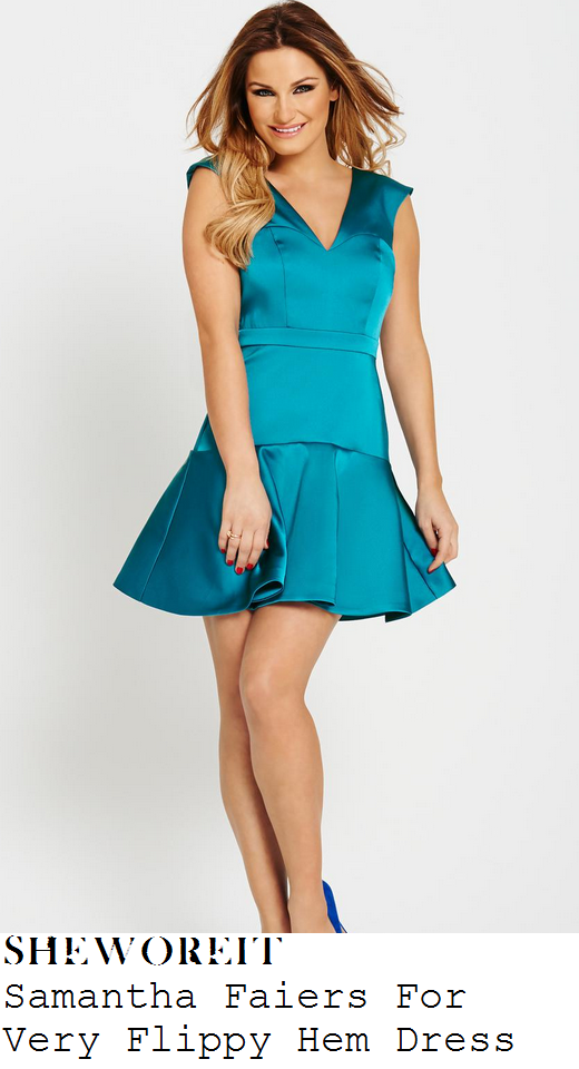 sam-faiers-turquoise-green-sleeveless-satin-flippy-hem-dress