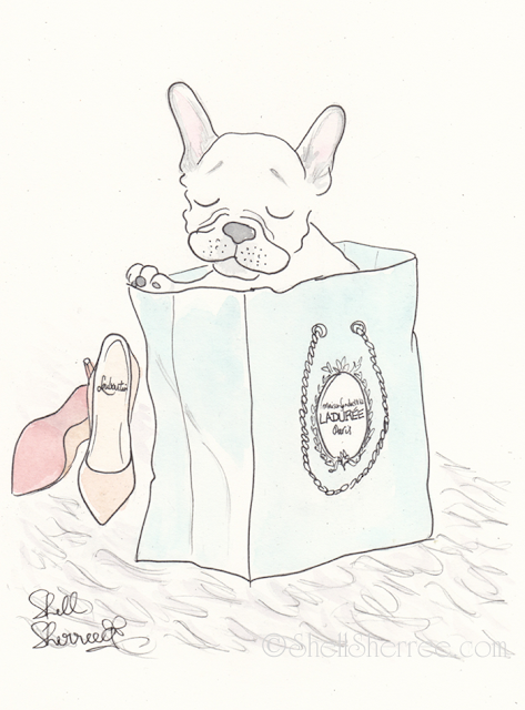 Fashion and fluffballs illustration :  Ladurée, Louboutins and Frenchie Kisses © Shell-Sherree