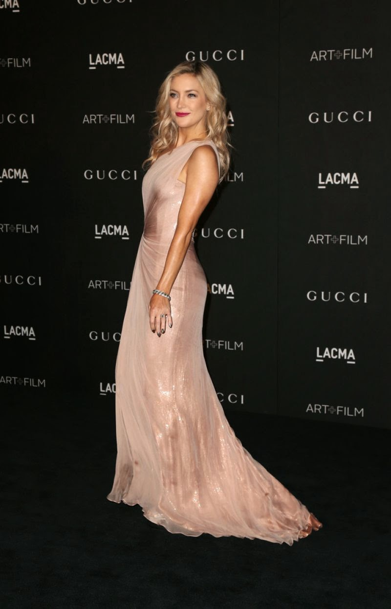 Kate Hudson arrives at the 2014 LACMA Art + Film Gala in a pale pink Gucci gown