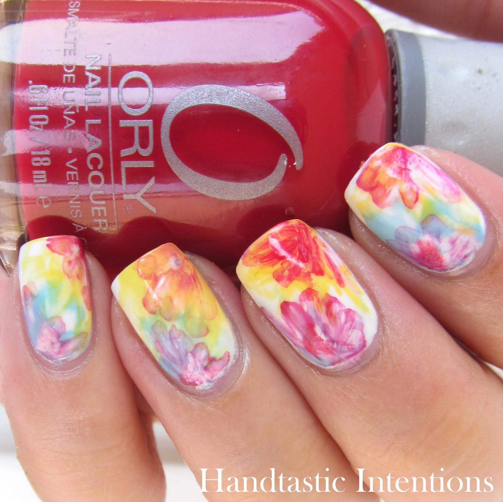 Handtastic Intentions: Nail Art: Watercolor Flowers Tri
